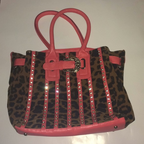 718f1379681b Bags | Unknown Brand Animal Print Rhinestoned Purse | Poshmark